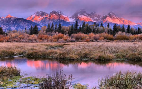Photograph - Grand Teton Pink Stripe Sunrise by Adam Jewell