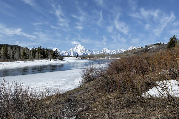 Photograph - Grand Tetons From Oxbow Bend At A Distance by Belinda Greb