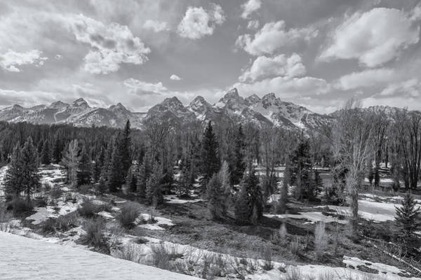 Photograph - Grand Tetons From Schwabacher Road Bw by Belinda Greb