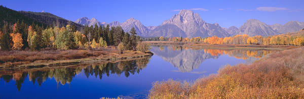 Mount Moran Photograph - Grand Tetons Reflected In Oxbow Bend by Panoramic Images
