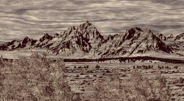 Photograph - Grand Tetons Woodburning by John M Bailey