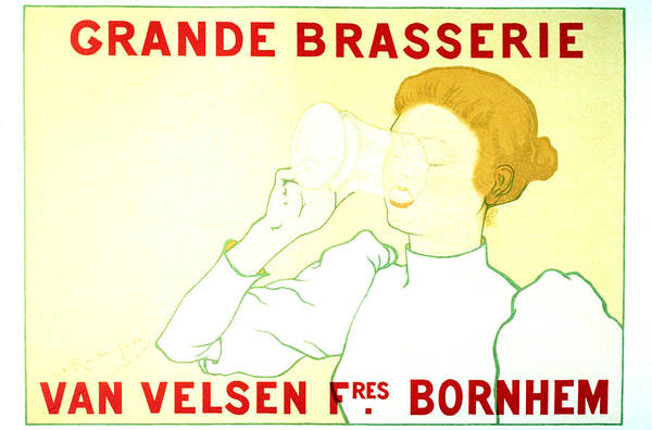 Brasserie Wall Art - Mixed Media - Grande Brasserie - Bornhem, Belgium - Vintage Advertising Poster by Studio Grafiikka