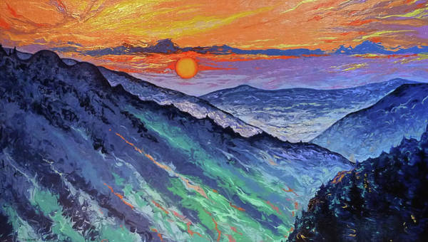 Fluid Acrylic Painting - Grandfather Mountain Adoration by Catherine Twomey