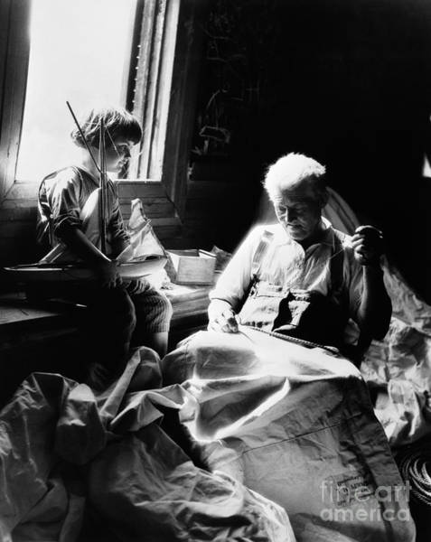 Elder Care Photograph - Grandfather Sewing Sail, C.1930s by H. Armstrong Roberts/ClassicStock