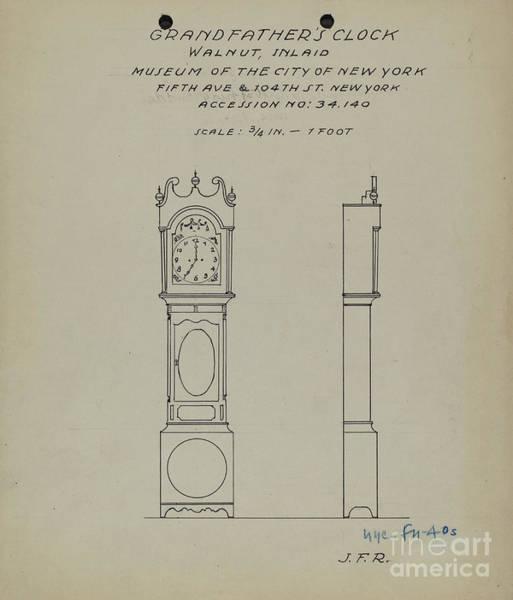Rust Drawing - Grandfather's Clock by J.f. Rust