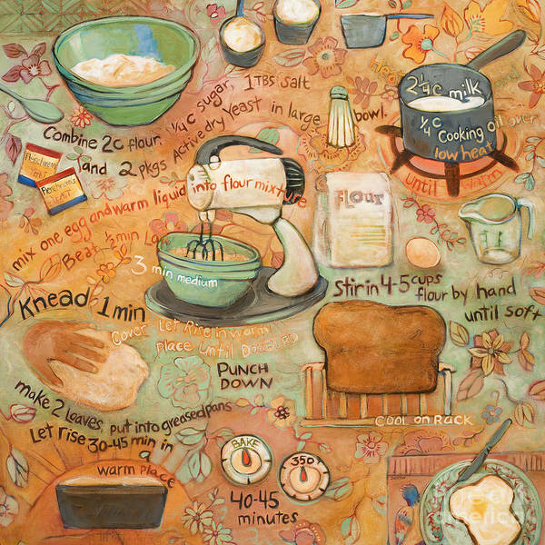 Ingredient Painting - Grandmas Bread Recipe by Jen Norton