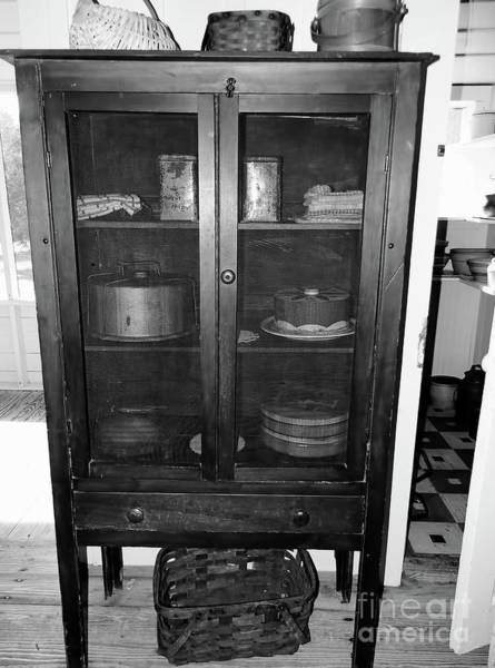 Photograph - Grandma's Pie Safe B W by D Hackett
