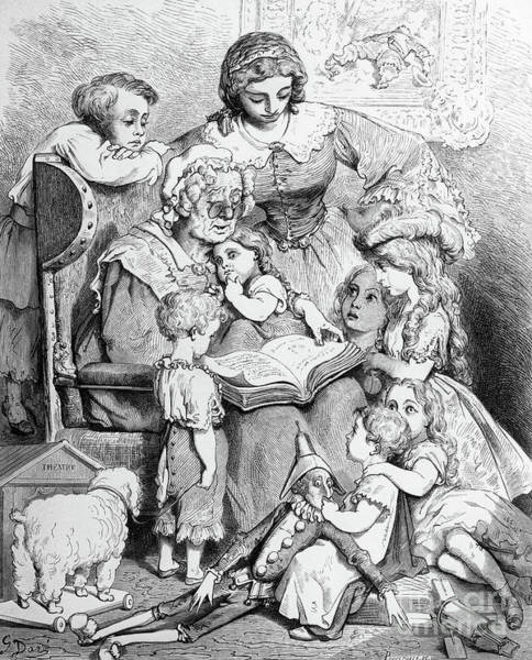 Grandma Wall Art - Drawing - Grandmother Telling A Story To Her Grandchildren by Gustave Dore