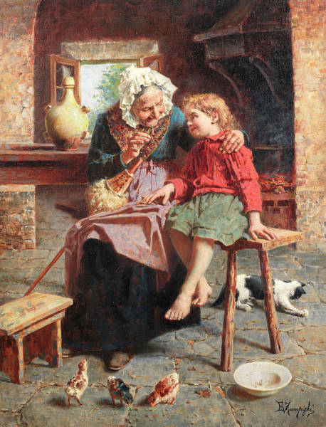 Rural Life Wall Art - Painting - Grandmother's Tales by Eugenio Zampighi