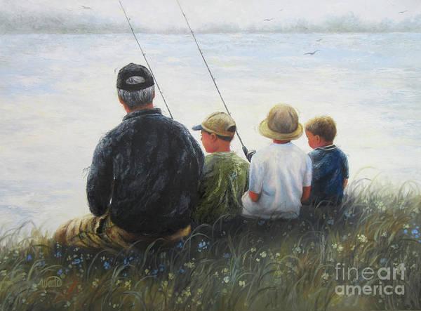 Wall Art - Painting - Grandpa And Three Boys Fishing by Vickie Wade
