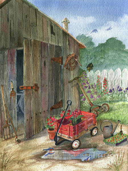 Painting - Grandpa's Radio Flyer Wagon by Marilyn Smith