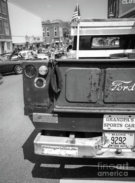 Photograph - Grandpa's Sports Car, Bath, Maine  -56456-bw by John Bald