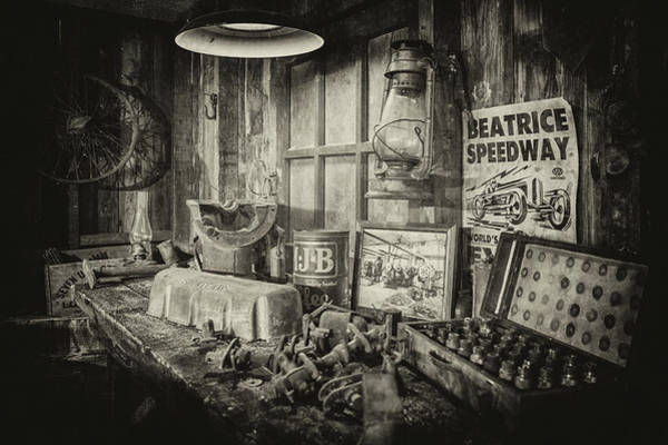 Photograph - Grandpa's Workbench In Black And White by Susan Rissi Tregoning