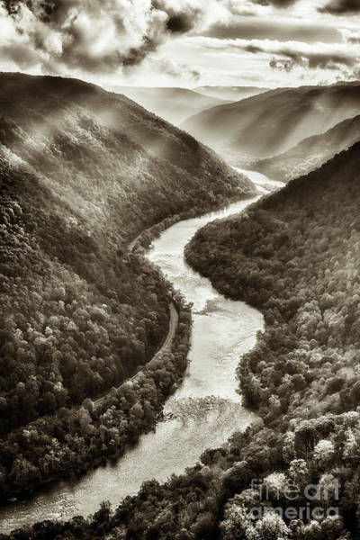 Photograph - Grandview New River Black And White by Thomas R Fletcher
