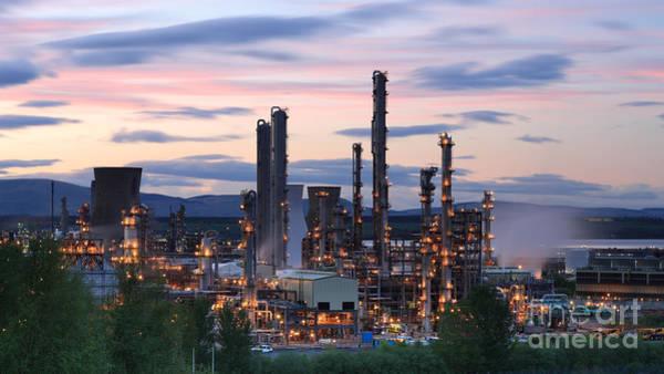 Photograph - Grangemouth Refinery At Sunset by Maria Gaellman