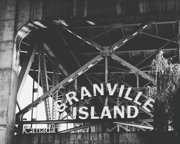 Island Photograph - Granville Island Bridge Black And White- By Linda Woods by Linda Woods