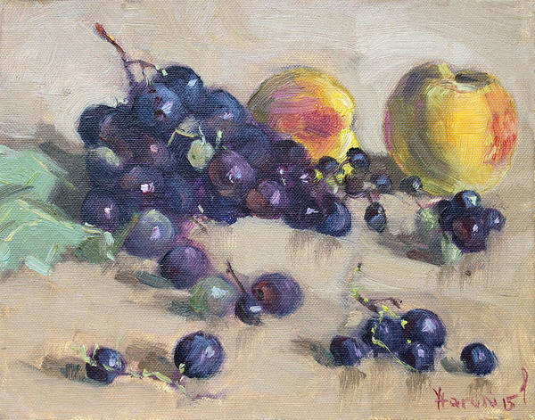 Wall Art - Painting - Grape And Peach by Ylli Haruni