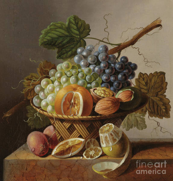 Wall Art - Painting - Grapes, An Orange And Walnuts In A Wicker Basket With A Lemon And Plums, All On A Marble Ledge by Johannes Cornelis Bruyn