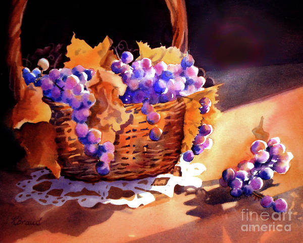 Wall Art - Painting - Grapes And Basket by Kathy Braud