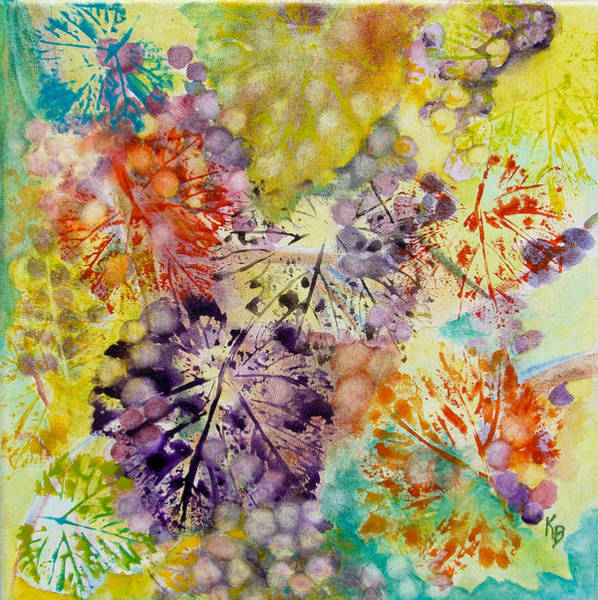 Painting - Grapes And Leaves I by Karen Fleschler