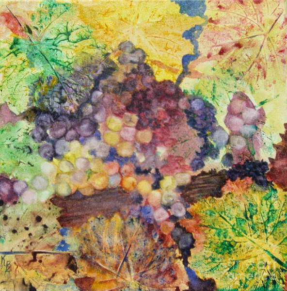 Painting - Grapes And Leaves II by Karen Fleschler
