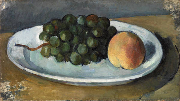 Apple Peel Wall Art - Painting - Grapes And Peach On A Plate by Paul Cezanne