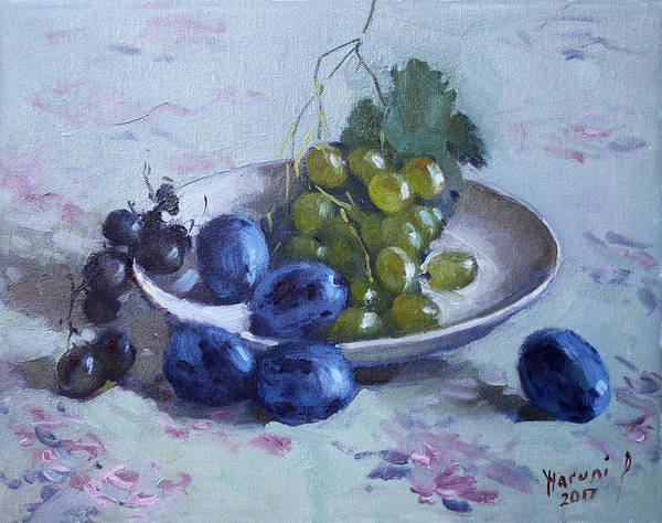 Wall Art - Painting - Grapes And Plums by Ylli Haruni