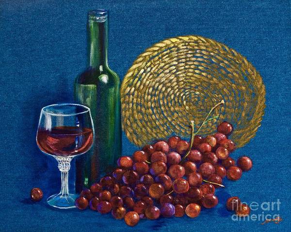 Wall Art - Painting - Grapes And Wine by AnnaJo Vahle