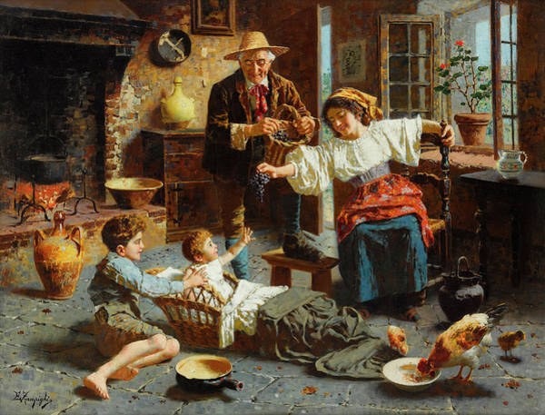 Rural Life Wall Art - Painting - Grapes For The Baby by Eugenio Zampighi
