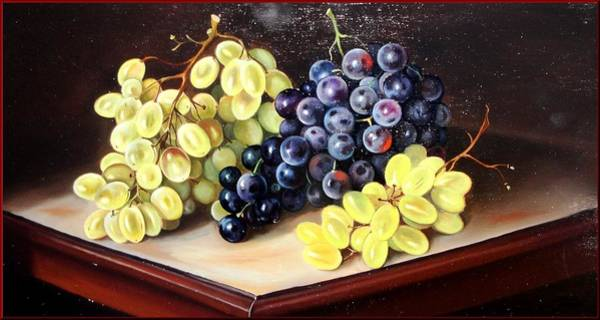 Poppie Painting - Grapes On The Table by Sabrina Garzelli