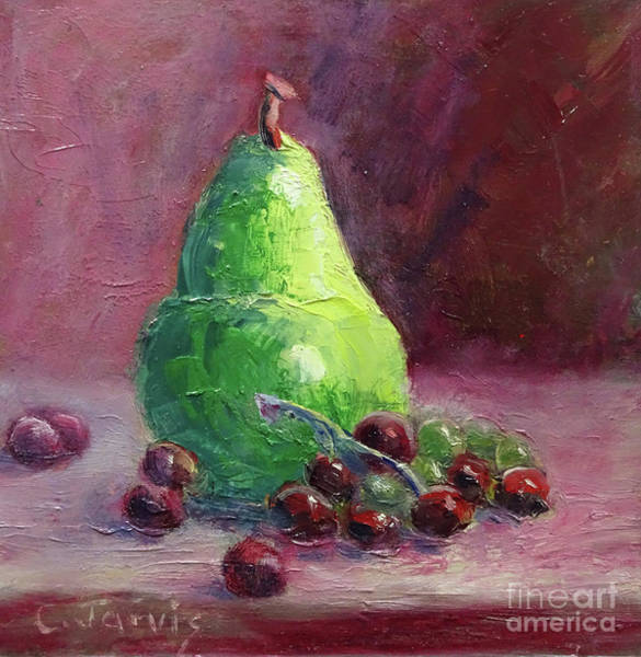Painting - Grapes With Pear by Carolyn Jarvis