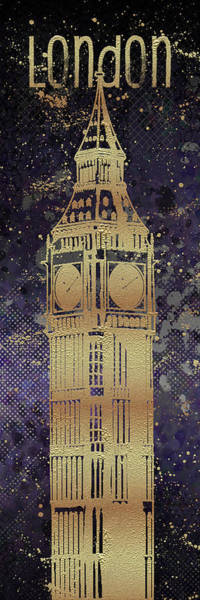 Wall Art - Digital Art - Graphic Art London Big Ben - Ultraviolet And Golden by Melanie Viola