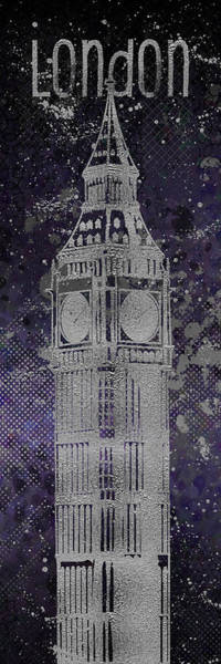 Wall Art - Digital Art - Graphic Art London Big Ben - Ultraviolet And Silver by Melanie Viola
