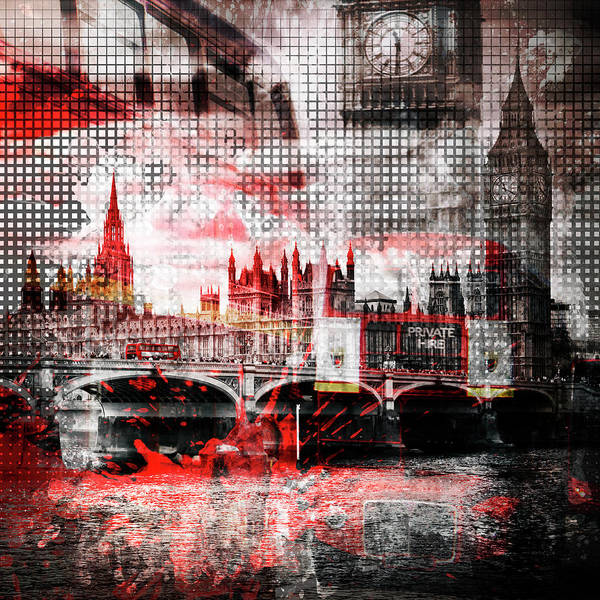 Wall Art - Photograph - Graphic Art London Red Bus Composing by Melanie Viola