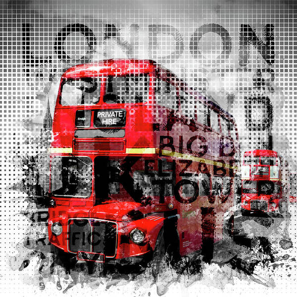 Elizabeth Tower Wall Art - Photograph - Graphic Art London Westminster Buses - Typography by Melanie Viola