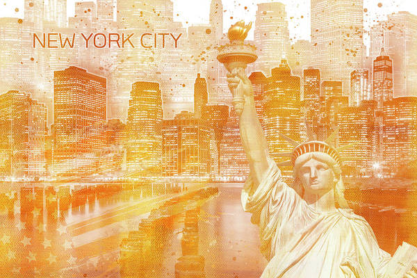 Statue Mixed Media - Graphic Art Manhattan Collage - Golden by Melanie Viola