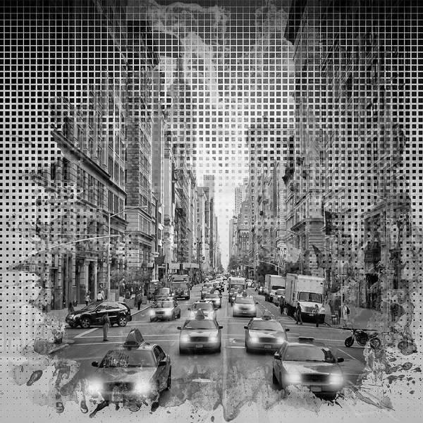 Wall Art - Photograph - Graphic Art New York City 5th Avenue - Monochrom by Melanie Viola