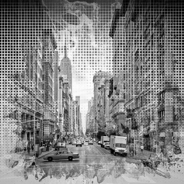Wall Art - Photograph - Graphic Art New York City 5th Avenue - Monochrome by Melanie Viola