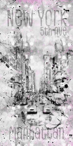 Wall Art - Photograph - Graphic Art New York City 5th Avenue Traffic by Melanie Viola