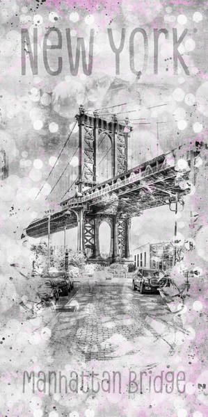Wall Art - Digital Art - Graphic Art New York City Manhattan Bridge by Melanie Viola