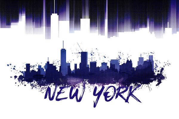 Wall Art - Digital Art - Graphic Art Nyc Skyline Purple by Melanie Viola