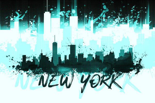 Wall Art - Digital Art - Graphic Art Nyc Skyline Splashes II Cyan by Melanie Viola