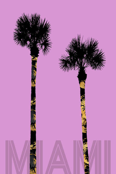 Tropics Digital Art - Graphic Art Palm Trees Miami - Pink by Melanie Viola
