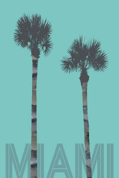 Tropics Digital Art - Graphic Art Palm Trees Miami - Turquoise by Melanie Viola