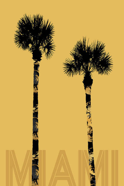 Tropics Digital Art - Graphic Art Palm Trees Miami - Yellow by Melanie Viola