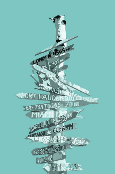 Cyan Digital Art - Graphic Art Signpost - Turquoise by Melanie Viola