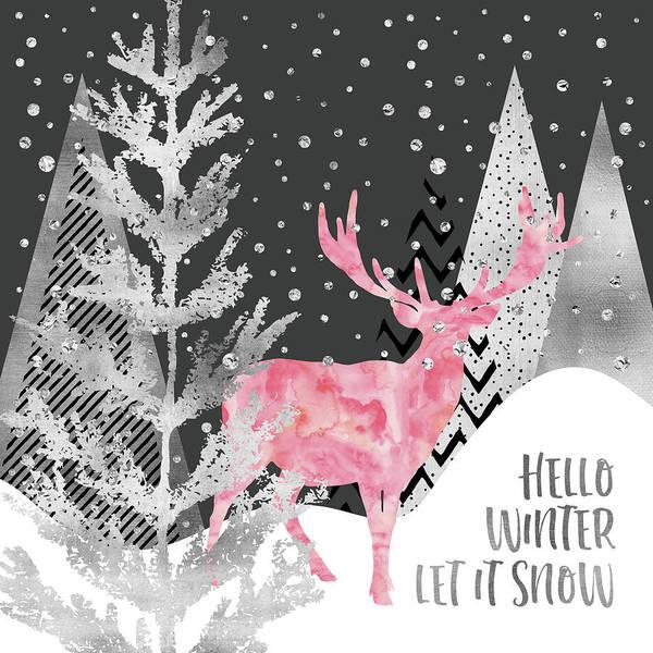 Let It Be Wall Art - Digital Art - Graphic Art Silver Hello Winter Let It Snow by Melanie Viola
