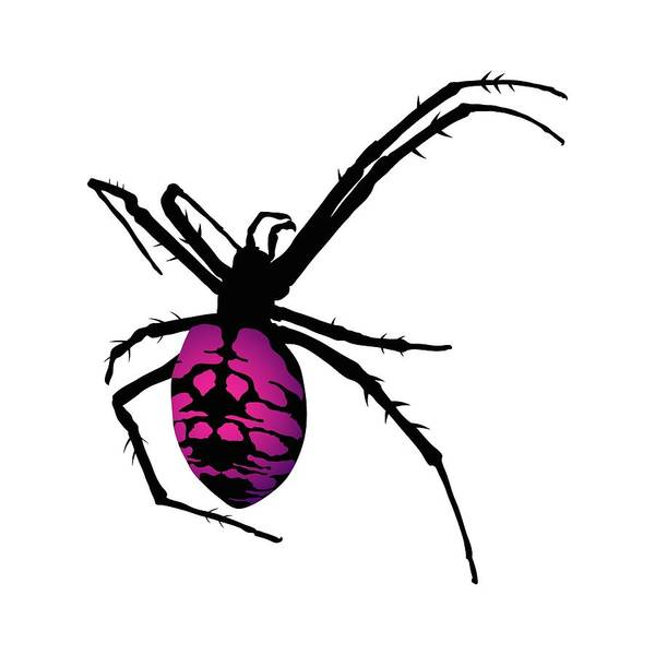 Digital Art - Graphic Spider Black And Purple by MM Anderson