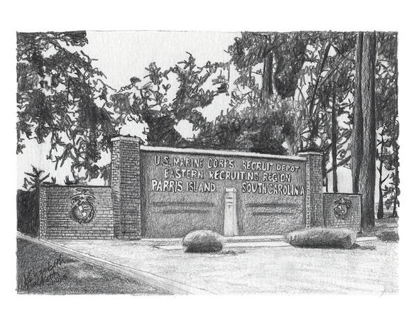 Painting - Graphite Parris Island Welcome by Betsy Hackett