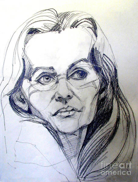 Drawing - Graphite Portrait Sketch Of A Woman With Glasses by Greta Corens